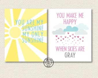 Set of 8x10 You Are My Sunshine My Only Sunshine Prints
