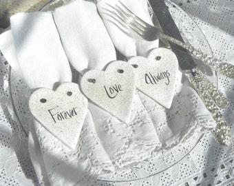 Bridal Shower or Wedding Napkin Rings Set of 10 Valentine's Day Salt Dough Heart Ornaments