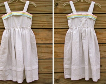 Pretty Girl Sleeveless Strappy Dress with Pink/Yellow/Blue Ribbon Details