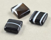 Black Stone Beads, Sardonyx Beads, Black White 10mm Square Beads, Three