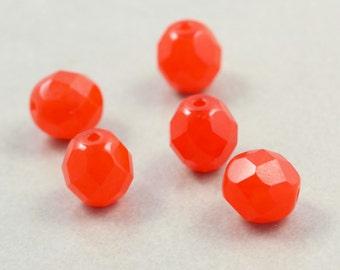 Orange Glass Beads, 8mm Oval Beads, Czech Glass, Neon, Five