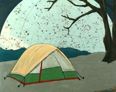 Sleeping Under the Great Bear- -print of tent camping under the night sky with constellations