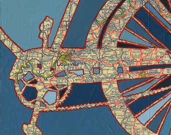 Bike Louisville print - bicycle art print featuring Louisville, Lexington, Frankfort, New Albany, Newport Kentucky