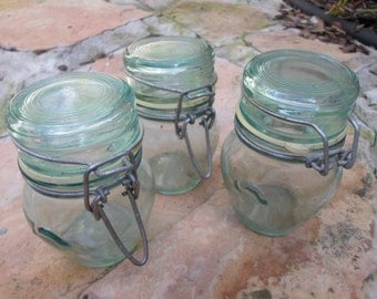 Vintage Set of Three Water Green Glass Storgae Jars