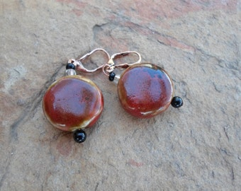 Brown Ceramic Earrings with Copper Earring Hooks