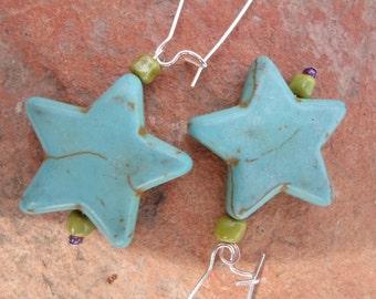 Western Star Turquoise Howlite Earrings