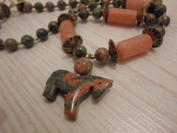 Unikite Salmon and Green Stone Handmade Necklace and Earrings with Zuni Horse Pendant
