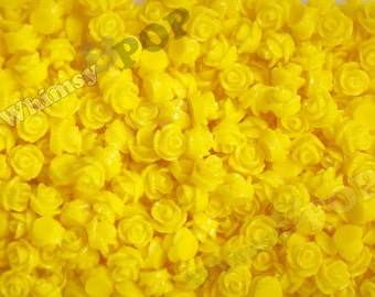 7.5mm - Yellow Teeny Tiny Rose Resin Cabochons, Tiny Flower Cabochons, Rose Shaped Flatback Cabochons, Tiny Flatback Roses, 7.5mm  (R3-044)