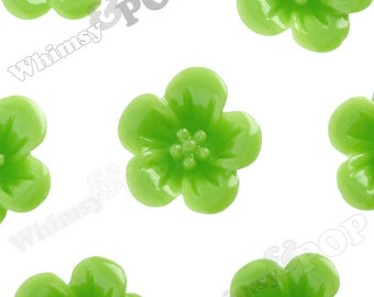 Green Apple Hibiscus Flower Cabochons, Flower Cabs, Hibiscus Cabochon, Flower Shaped, 13mm x 5mm (R2-040)