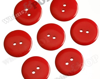 25 - Red Buttons for Sewing Scrapbooking and More, 23mm Buttons, Sewing Buttons, 2 Hole Buttons, Colorful Kids Craft Buttons (R2-112)