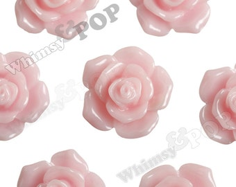 16mm Pointy Rose Light Pink Flower Cabochons, Flower Cabs, Rose Shaped, Rose Cabochons, Rose Flatback Embellishments (R3-122)