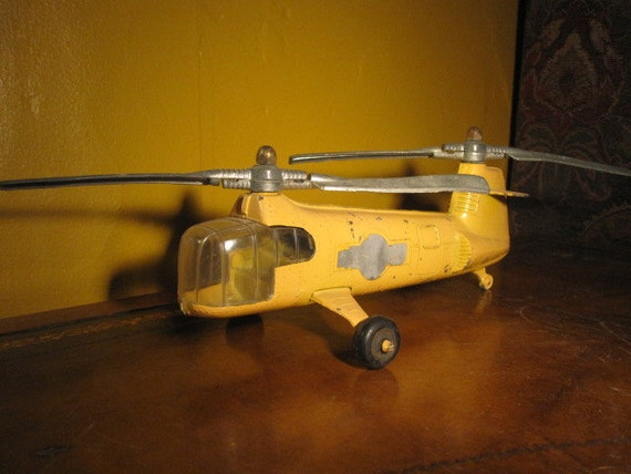 Yellow Twin- Blade Transport Helicopter, made by HUBLEY Toys