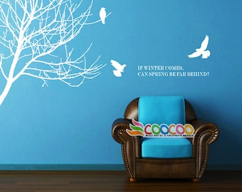 Wall Decal, wall Stickers ,Tree Wall Decals ,Wall decals, Removable, Tree and Birds, branches birds tree DC02882