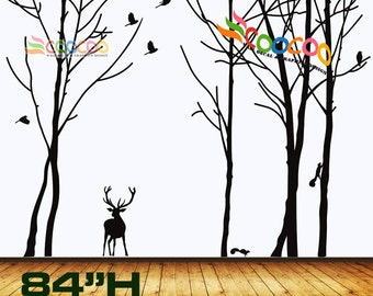 """Wall Decal, wall Stickers ,Tree Wall Decals ,Wall decals, Removable, Tree and Birds, forest with deer 84""""H"""