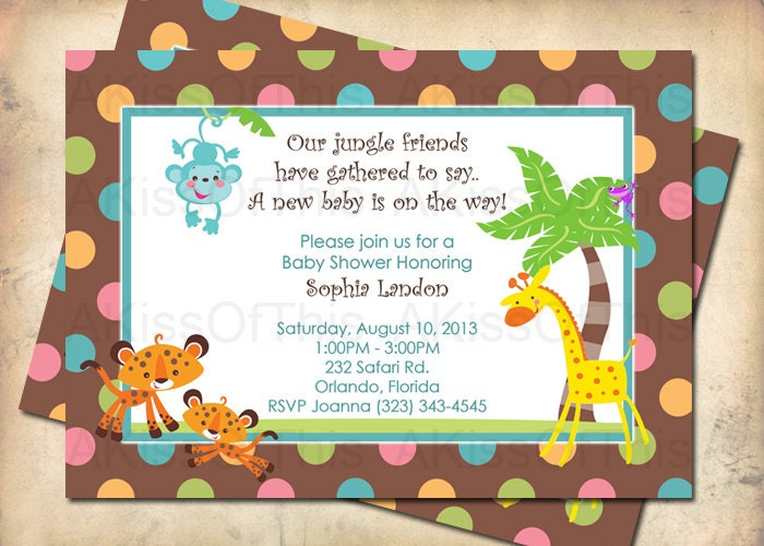 jungle safari baby shower invitation baby animals by akissofthis
