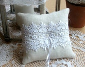 Ivory Burlap/Hessian  Ring Bearer Pillow/Cushion with White Guipure Lace
