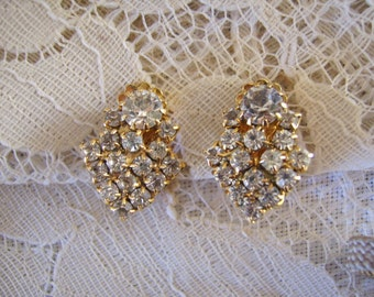 Vintage Gold Clear Rhinestone Clip Back Earrings