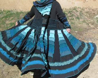 SPECIAL Order Only!! Upcycled Sweater; SHADES of BLUE Spiral Patchwork Gipsy Coat