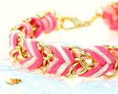 Neon Pink, Peachy Keen, & Neutral - Chevron Braided Modern Friendship Bracelet - Gold Chain