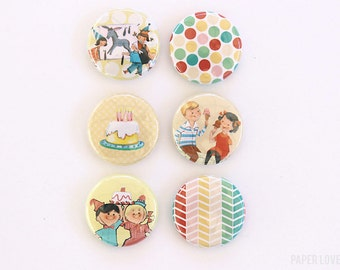 Birthday Party - Set of 6 Flair Buttons