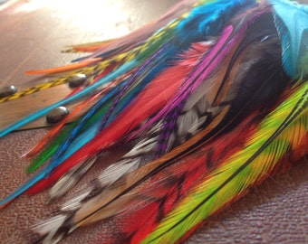 50 Craft Feathers Mixed Colorful Fluffy Saddle Feathers Make earrings, Scrapbooking, Hair Clips, Extensions, Fly Fishing DYI Supplies