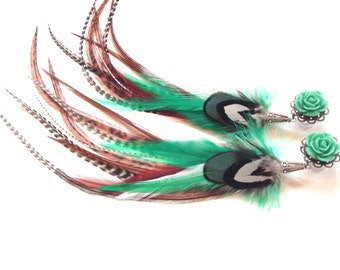 0g Turquoise Long Feather Plugs 2g, 4g, 6g Dangle Plugs With Feathers Gauged Earrings Choose Rose Plug Color