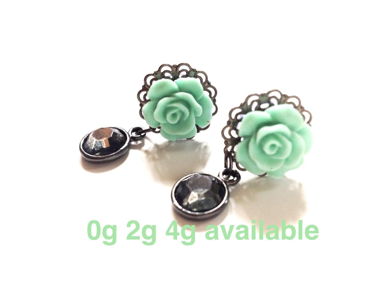 Etsy Plugs 2g Mint Rose Plugs 0g 2g 4g
