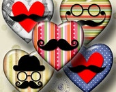 Mustache - Digital Collage Sheet CG-611H - Heart Shapes - for Resin and Glass Pendants, Crafts