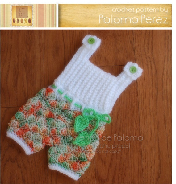 Free Crochet Pattern For Baby Romper : INSTANT DOWNLOAD Crochet Shelly Romper/Dress Pattern Baby