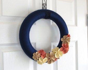 Navy Blue and Coral Yarn Wreath. Spring Home Decor, Spring Wedding Decor, Wreath with Felt Flowers, Taupe, Ivory and Coral