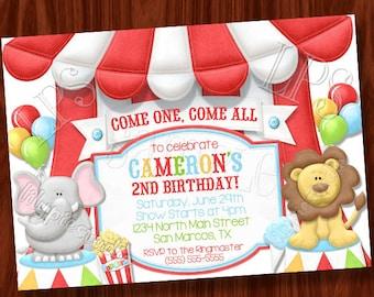 Big Top Circus themed invitation