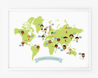 World Map - Map of the World Children with Traditional Costume Illustration Poster Print Nursery Art, Children Decor