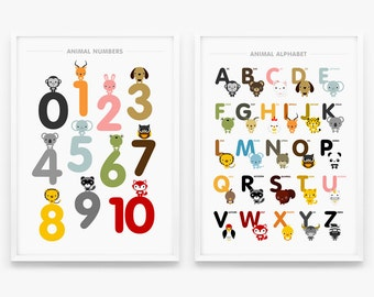 Children decor, Alphabet and Number Posters, Nursery Art, Kids wall art animal A3 or 11 x 17 art poster Set of 2