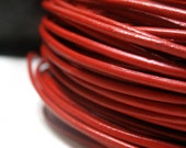 2mm Leather Cord 3 Yards Bright Red