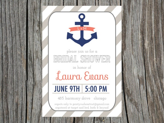 Items similar to Nautical Bridal Shower Invitation Anchor
