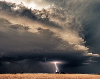 Fine art Print of a supercell thunderstorm with lightning bolt