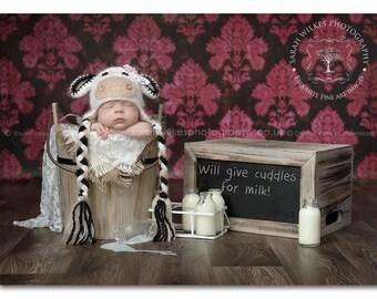 Handmade Crochet Cow Hat. Baby Cow Hat. Newborn Cow Hat. Photography Prop.UK Seller