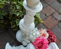 My Shabby French Wedding-Distressed Bright White Set of Extra Tall Candle Holders-One Pair