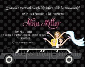 LIMO girls night out invitation - 2 to choose - YOU PRINT