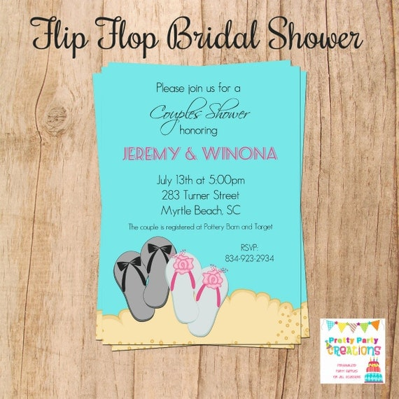 FLIP FLOP Bridal SHOWER Invitation You By PrettyPartyCreations