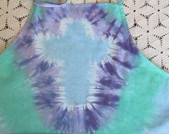 "Tie Dye apron- Christian CROSS - ""Even church ladies need tiedye""- Adult Grande is ready for immediate shipping!"