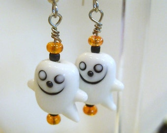 Lampwork Ghost and Glass Beaded Earrings on French Wire