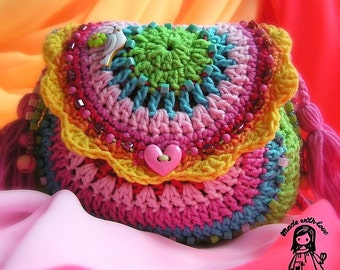 Crochet pattern - Rainbow purse by VendulkaM - digital pattern,  DIY