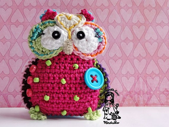 Crochet owl hanger / pendant / ornament - crochet pattern, DIY