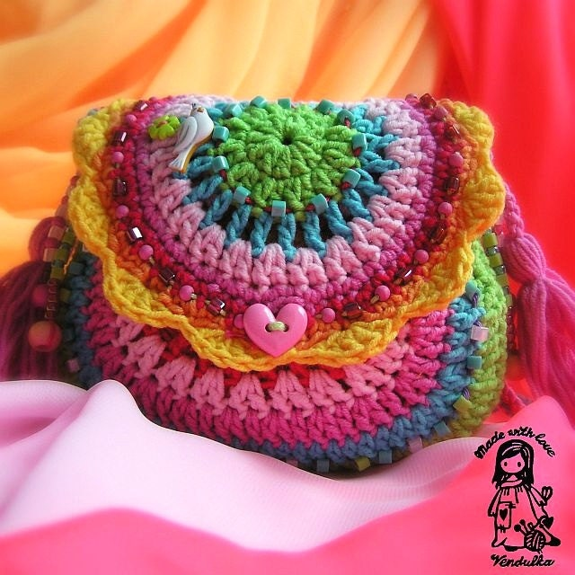 Crochet Rainbow Bag : Crochet rainbow purse crochet pattern DIY by VendulkaM on Etsy