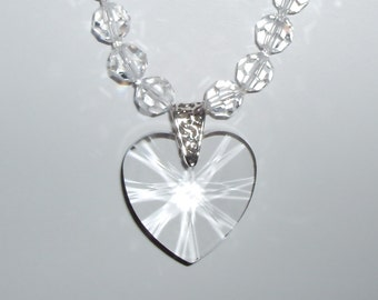 Long Beautiful Clear Crystal Heart Pendant and Necklace