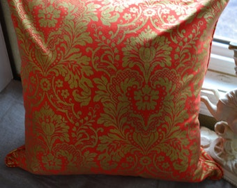 """Pillow Cover 20"""" x 20"""" in a Gorgeous Orange Pumpkin with Beautiful Damask Pattern in Gold"""