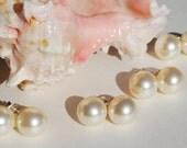 Swarovski Pearl Stud Earrings Bridal Pearl Earrings 10mm Sterling Silver 14k Gold or Rose Gold  WHITE OR CREAM Bridesmaid Gift