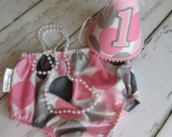 Baby Girls First Birthday Cake Smash Birthday Party and Photo Outfit in Pink and Gray Dots
