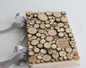 Winter Wedding Rustic wedding guestbook wood coin book with ribbon personalized for your Wedding - naturallyaspen